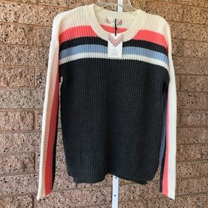 NWT Pink Rose Stripe Knit Pullover Sweater | S